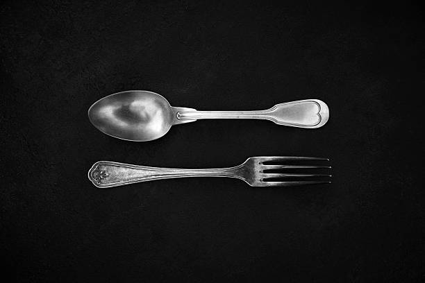 silver cutlery - food styling stock photos and pictures