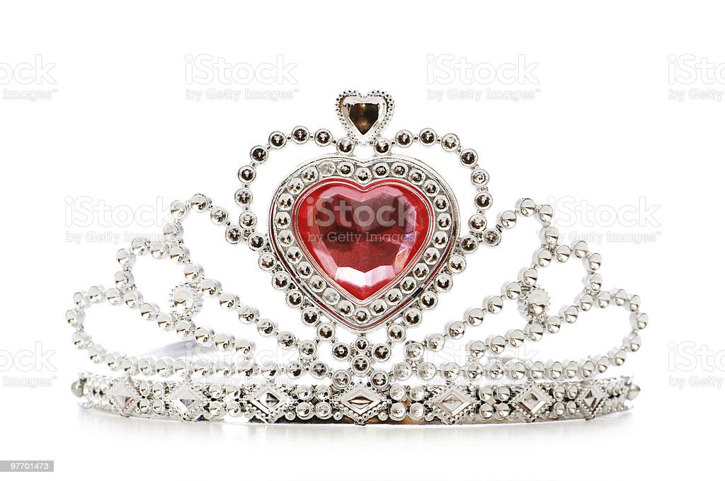 Silver diadem with red heart Jewel on white background stock photo