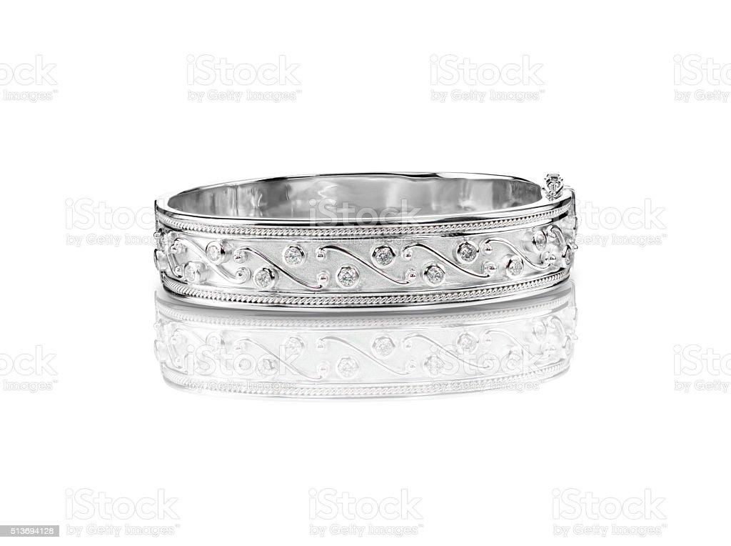 SIlver diamond bangle bracelet stock photo