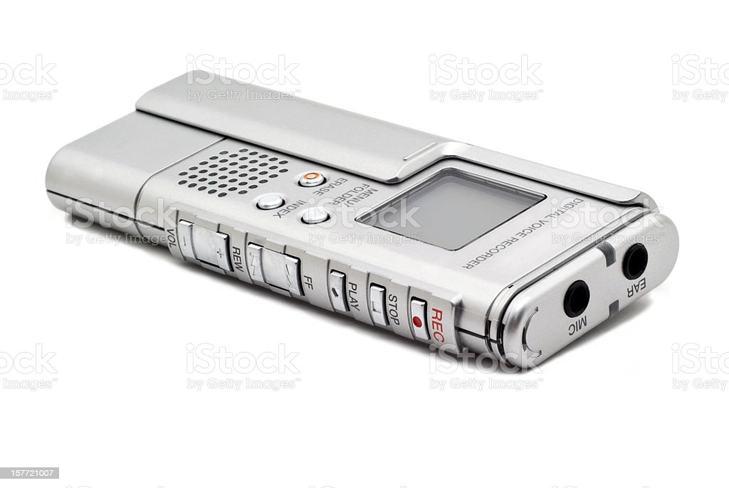 Silver Digital Voice Recorder Isolated on a White Background stock photo