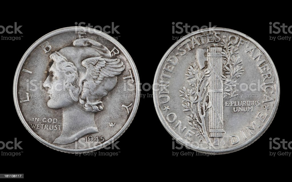 Silver Dime royalty-free stock photo