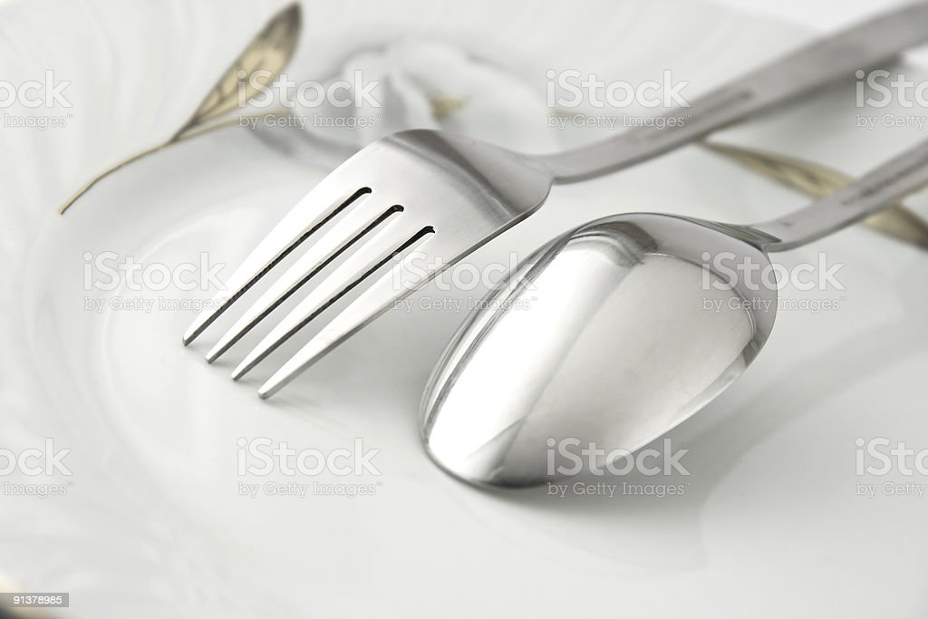 Silver dishware utensils royalty-free stock photo