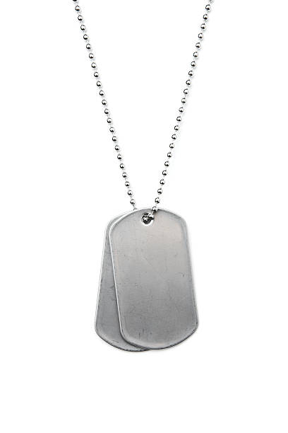 silver dog tags on a chain on a white background - chain object stock photos and pictures