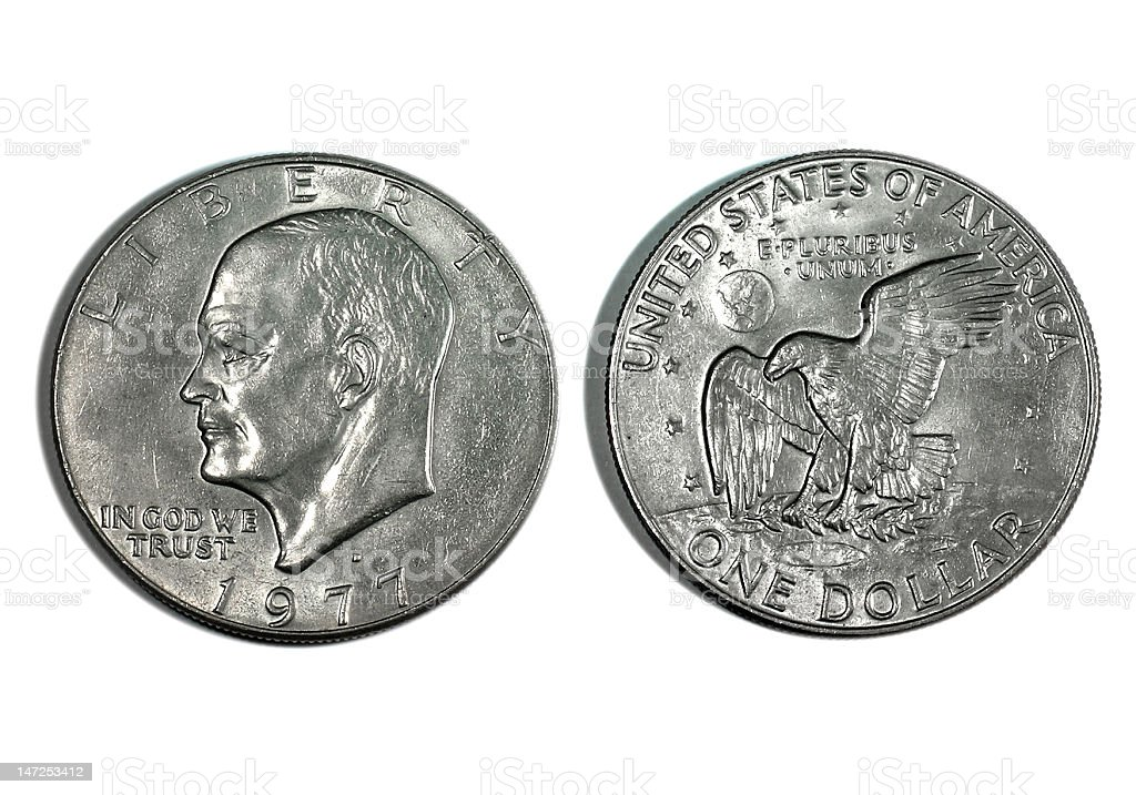 US Silver Dollar - 1977 stock photo