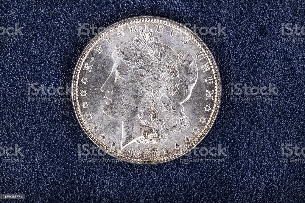 Silver Dollar on Blue Vinyl Holder royalty-free stock photo