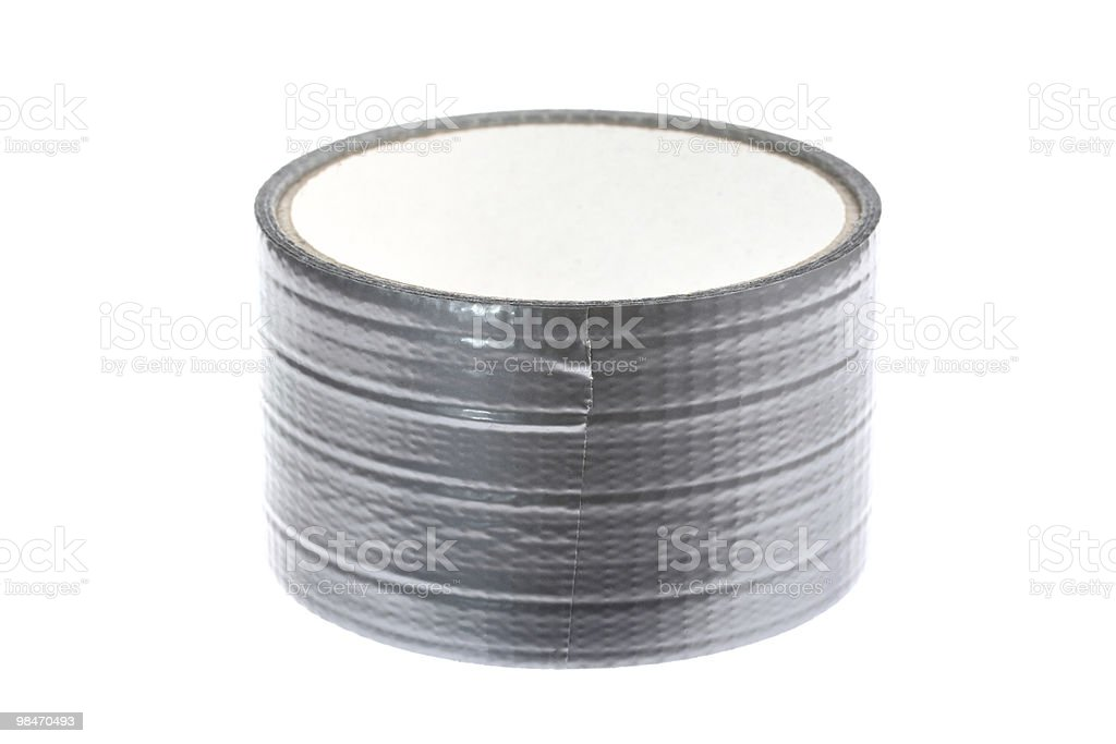 Silver duct tape roll isolated on white royalty-free stock photo