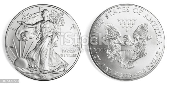 Front and back of an one ounce silver eagle coin, isolated on white background. Clipping path included.