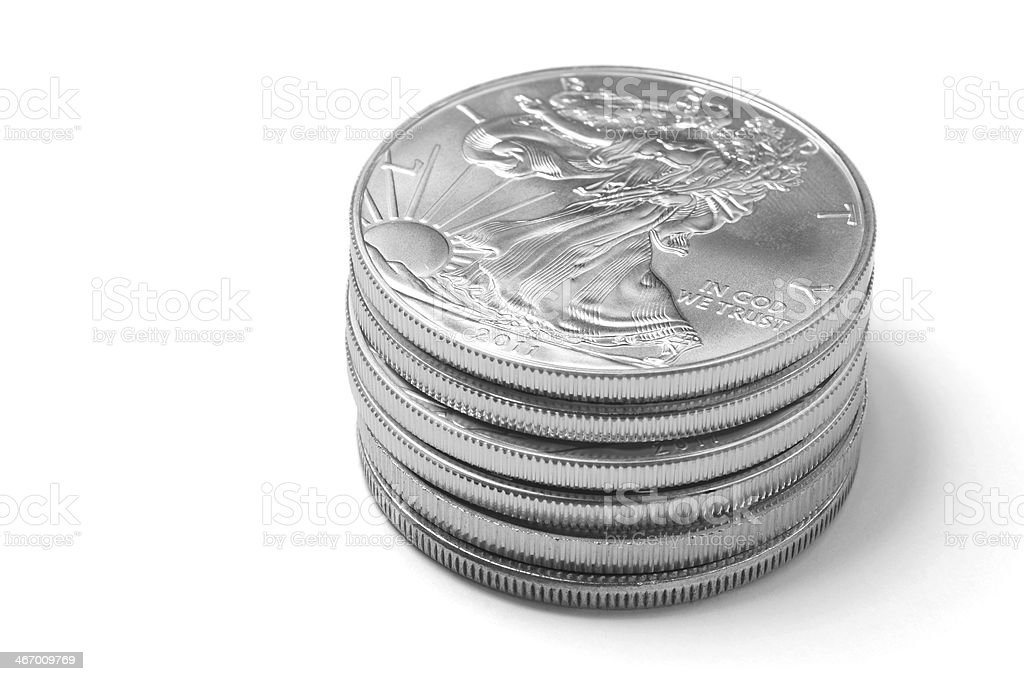 Silver Eagle Coins royalty-free stock photo
