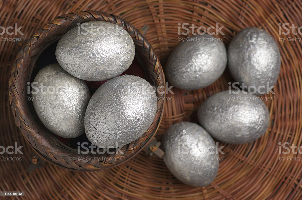 Silver Easter eggs stock photo