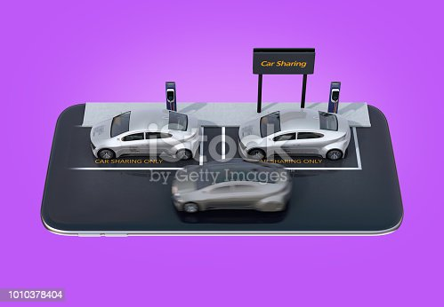 501071464 istock photo Silver electric cars parking on smartphone 1010378404