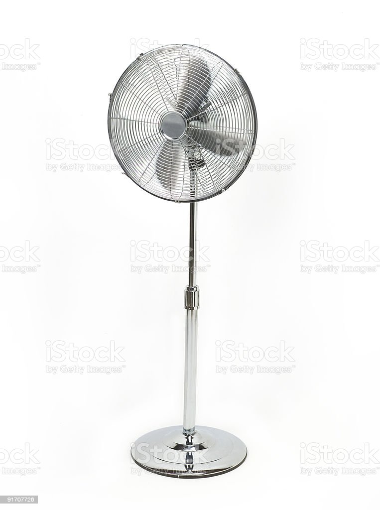 Silver electric standing fan stock photo