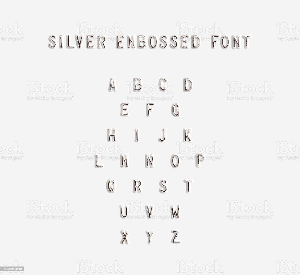 Silver embossed alphabet isolated, 3d illustration.