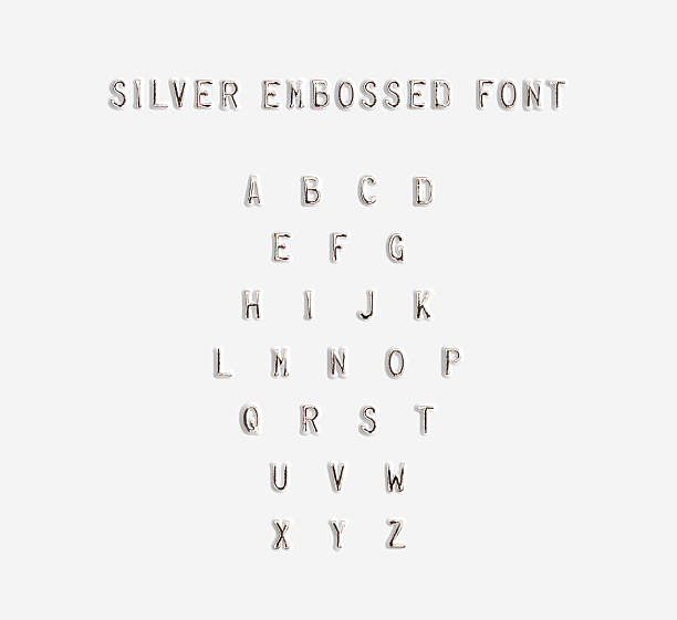 Silver embossed alphabet isolated, 3d illustration. stock photo