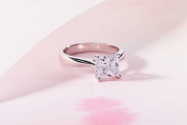 Silver engagement ring with big gemstone