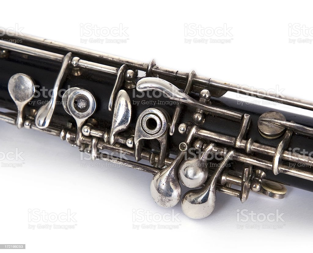 Silver English Horn Keys Detail, Double Reed Musical Instrument stock photo