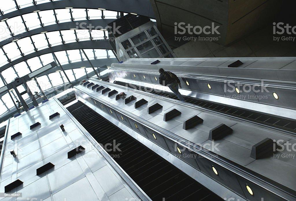 Silver escalator royalty-free stock photo