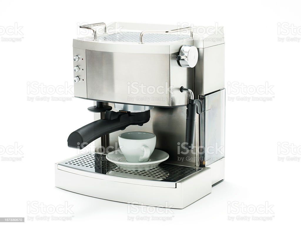 Silver espresso machine with a white mug on white background - Royalty-free Appliance Stock Photo