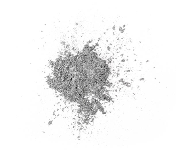 Silver eyeshadow Pile of bronze eye shadow on a white background. XXL file face powder stock pictures, royalty-free photos & images