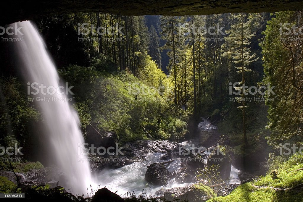 Silver Falls State Park, North Waterfalls royalty-free stock photo