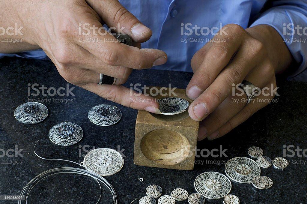 silver filigree stock photo