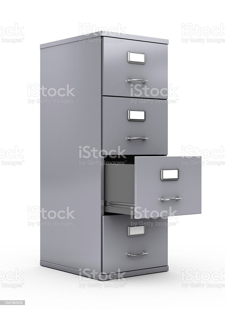Silver filing cabinet with second from bottom drawer open royalty-free stock photo