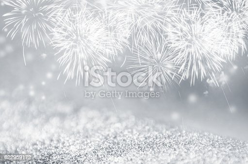636207118 istock photo Silver fireworks at New Year 622959172
