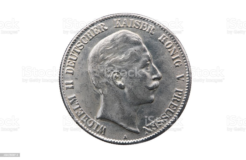 Silver five mark of German Reich stock photo