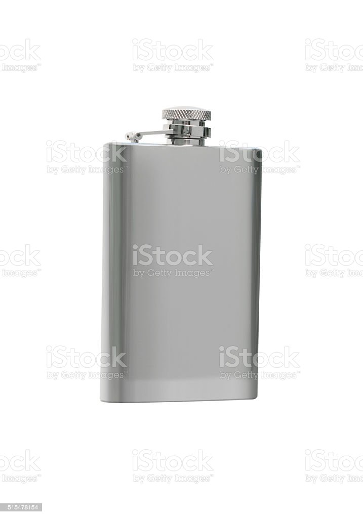 Silver flask stock photo