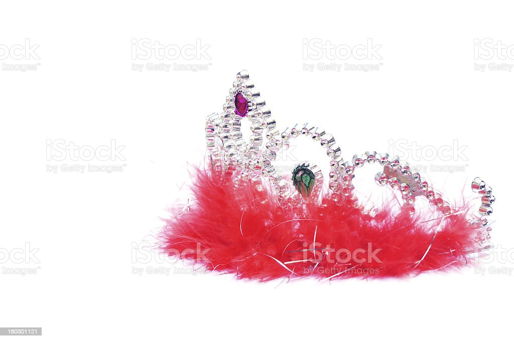 Silver fluffy crown with red jewels royalty-free stock photo