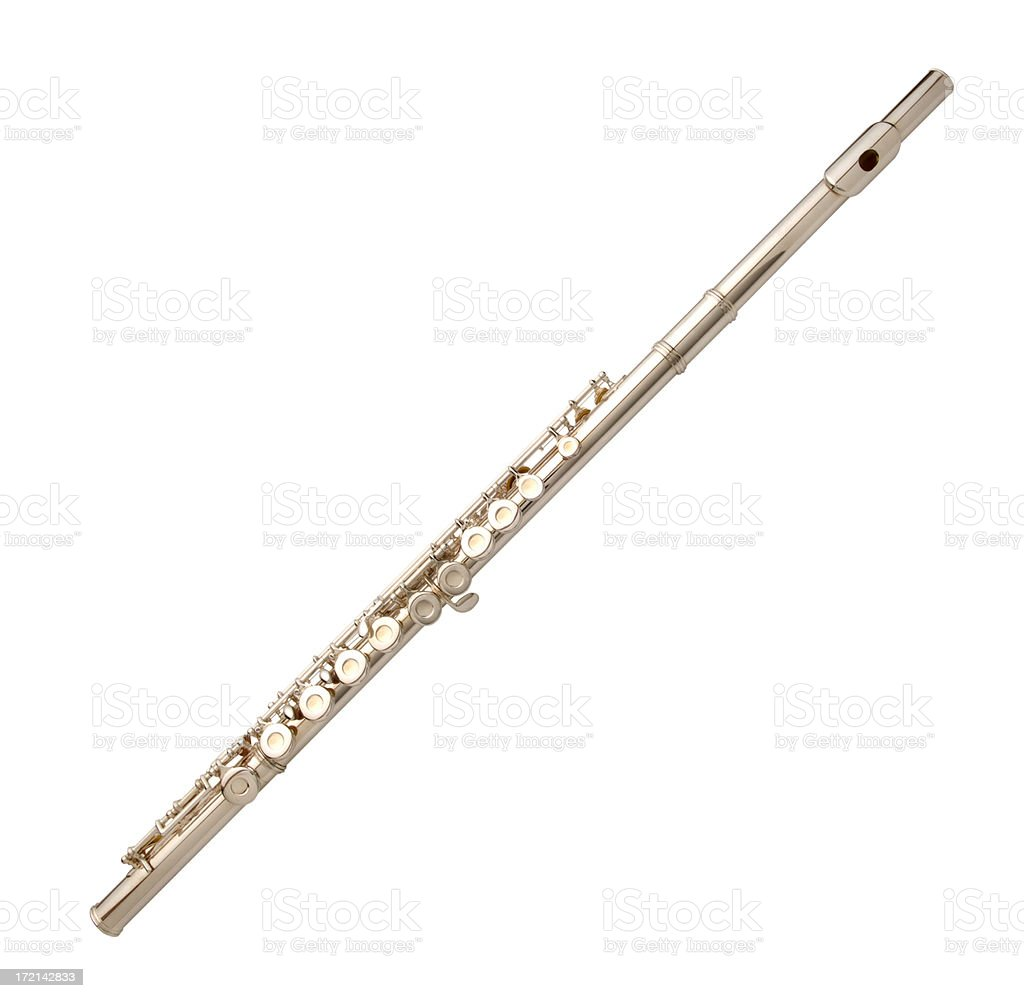 Silver Flute with Path stock photo