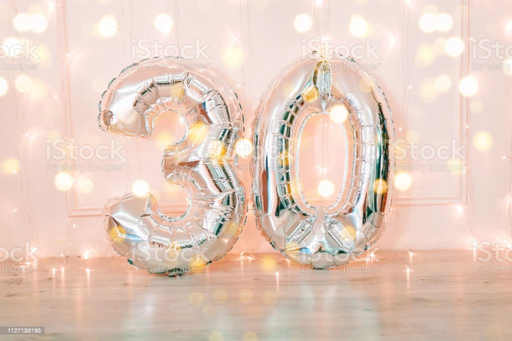 Silver Foil Birthday Balloons Number 30 With Glitter