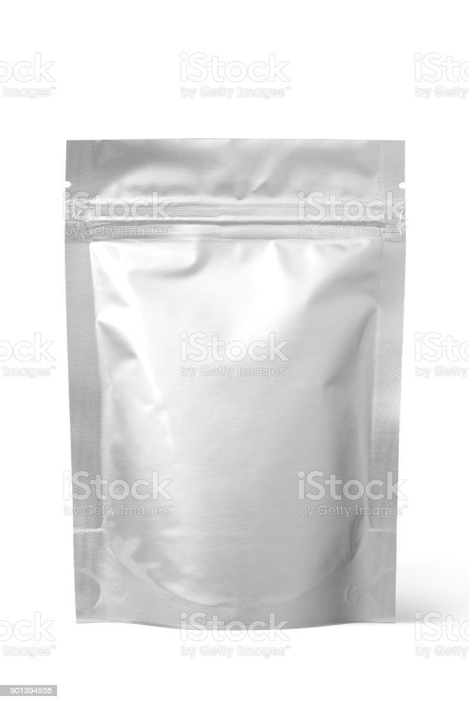 Silver foil zipper bag packaging stock photo