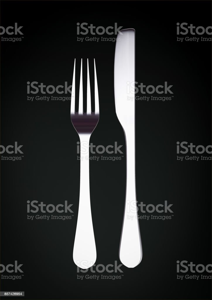 Silver fork and knife on black background with copy space 3d illustration stock photo