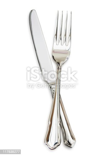 Cutlery Knife and Fork, isolated on white.