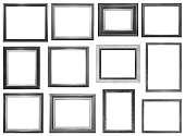 Collection of vintage silver and wood picture frame, isolated