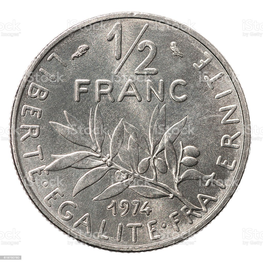 Silver French franc. stock photo