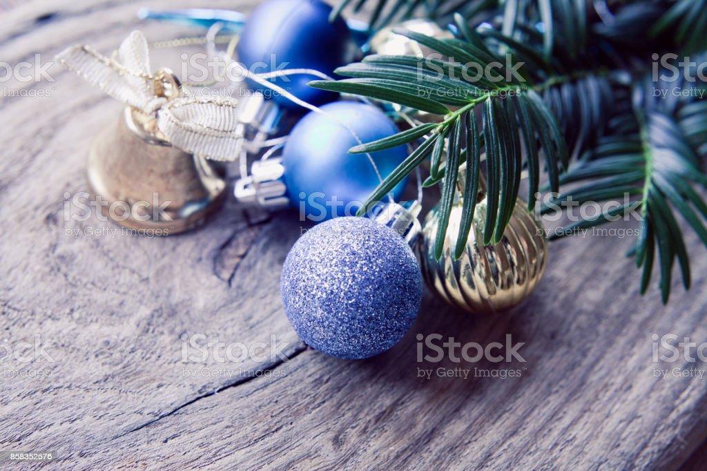 Frozen Christmas Decorations.Silver Frozen Blue Christmas Decorations Stock Photo
