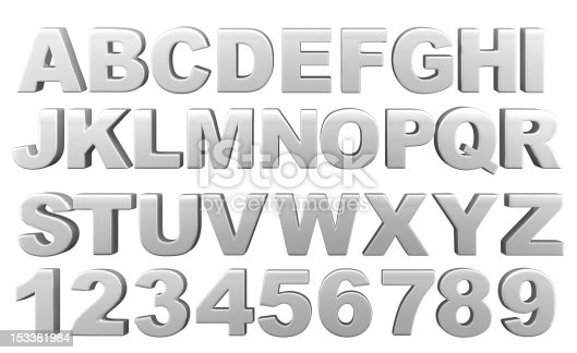 istock Silver full 3d alphabet with numerals 153381984