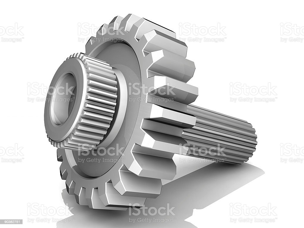 Silver gear with screw through the middle royalty-free stock photo