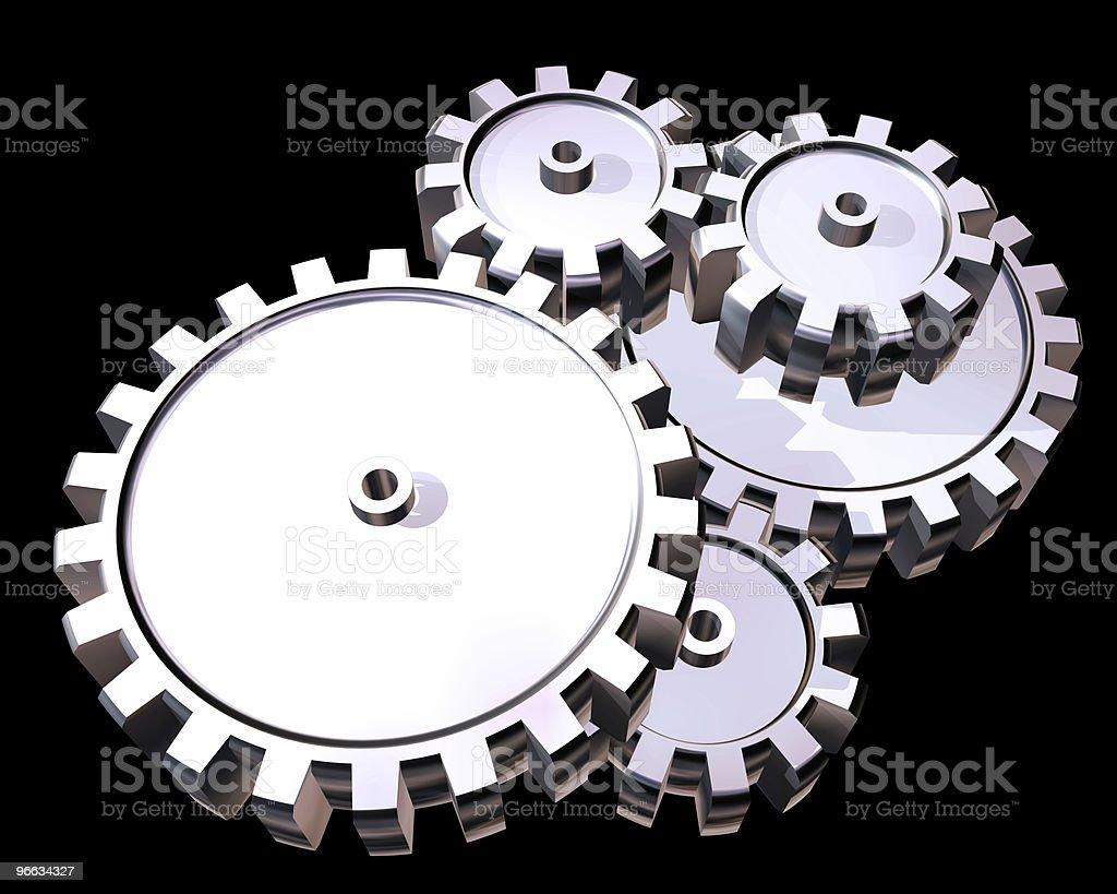 Silver gears royalty-free stock photo