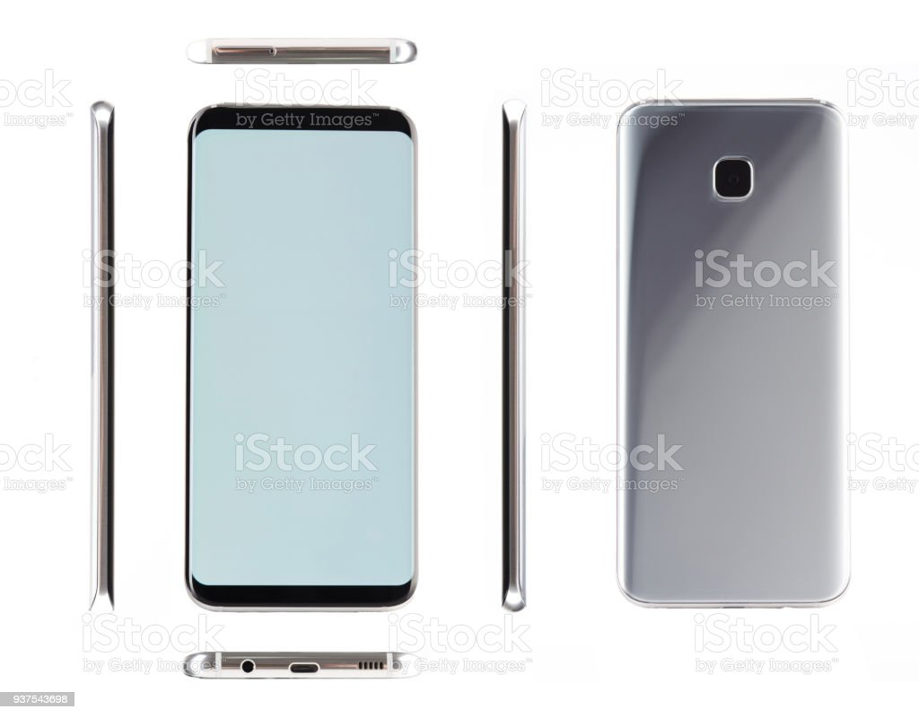 Silver generic modern smartphone stock photo