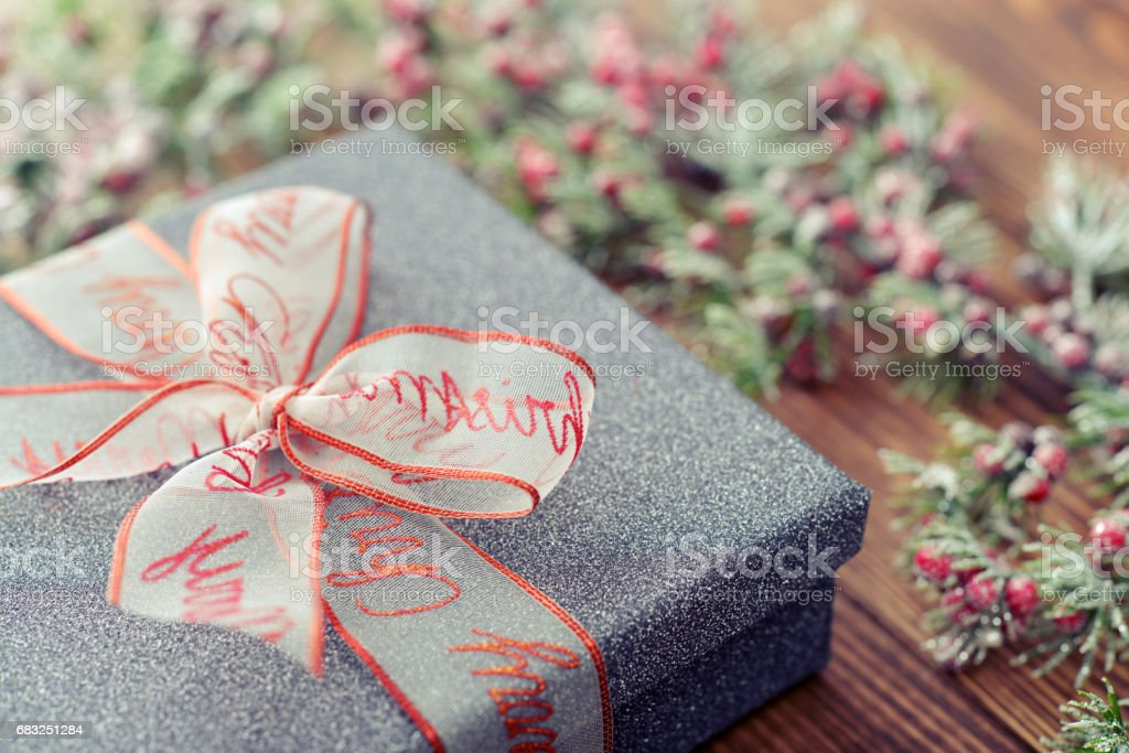 Silver gift box royalty-free 스톡 사진