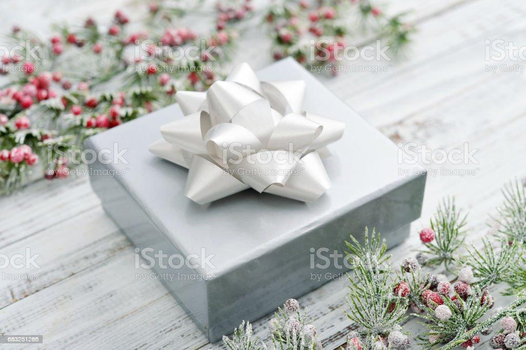 Silver gift box 免版稅 stock photo