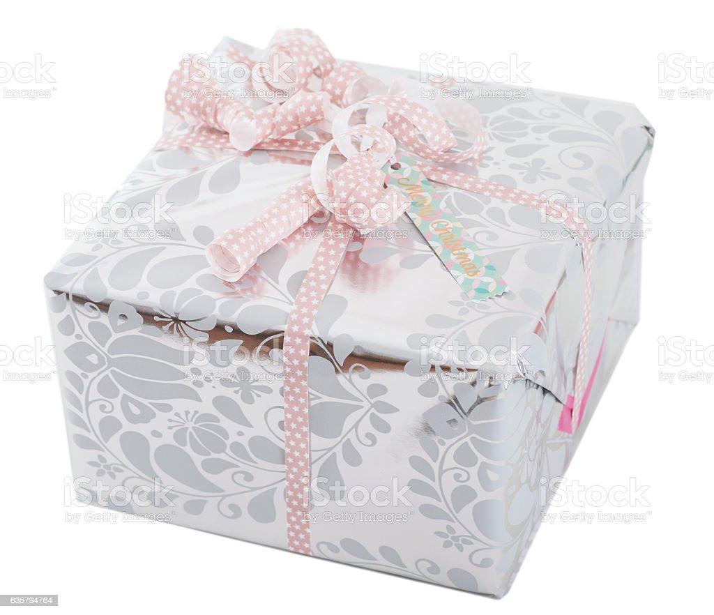 silver gift on white background stock photo