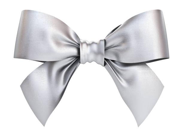 Silver gift ribbon bow isolated on white background . 3D rendering stock photo