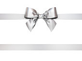 Silver gift ribbon bow isolated on white background . 3D rendering