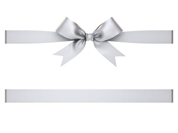 silver gift ribbon bow isolated on white background . 3d rendering - ribbon sewing item stock photos and pictures