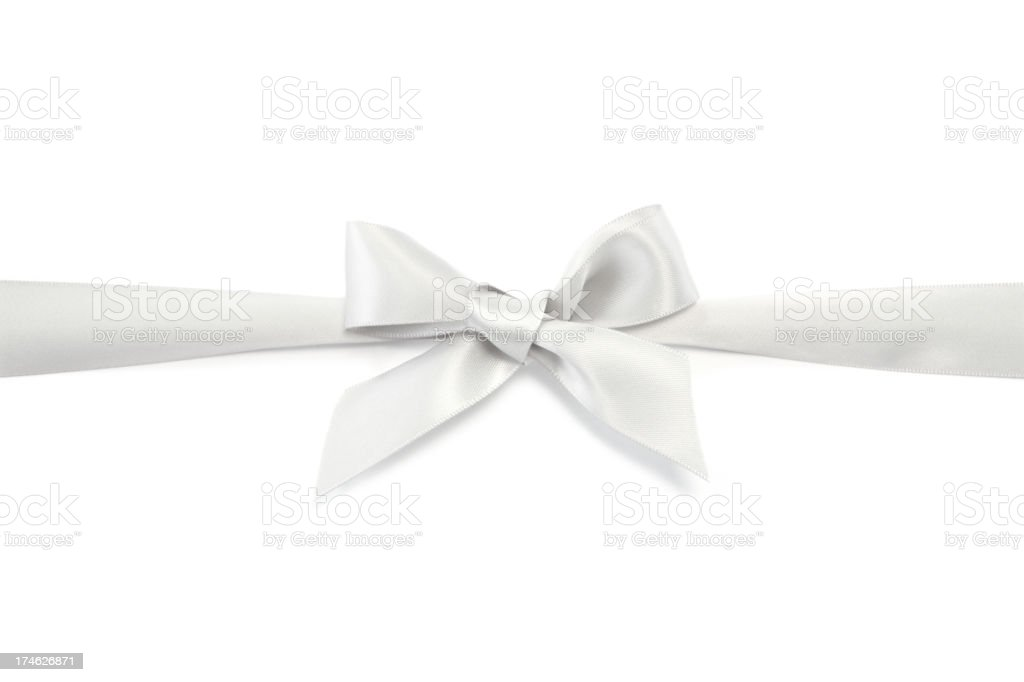 Silver Gift Ribbon & Bow royalty-free stock photo