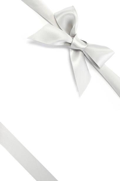 fita de prata presente com laço & - laço nó imagens e fotografias de stock