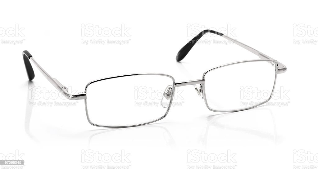Silver glasses isolated on white royaltyfri bildbanksbilder
